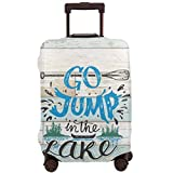 Protector de Maleta de Viaje Go Jump in The Lake Cabin Funda de Equipaje Vintage Funda Protectora de Maletero de Viaje...