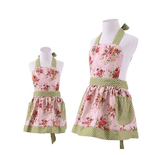 Cotton Apron,Mama-Child Set Cooking Apron with Pockets,Pink Floral Kitchen Garden Apron