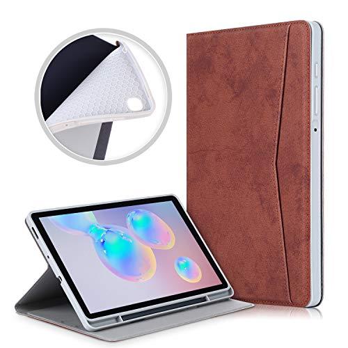 Xuanbeier Soft Hülle Kompatibel mit Samsung Galaxy Tab S6 Lite 10.4 Zoll SM-P610/P615 Schutzhülle mit Auto Schlaf/Wach Funktion & Stifthalter,Braun