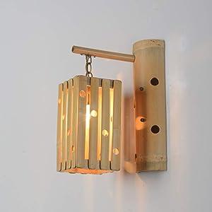 LifeX Lámpara de pared pastoral Personalidad Lámpara de pared de bambú natural Restaurante chino Iluminación en la pared Luces de pared E27 Base Salón de té antiguo Club Lounge Lámpara de pared para p