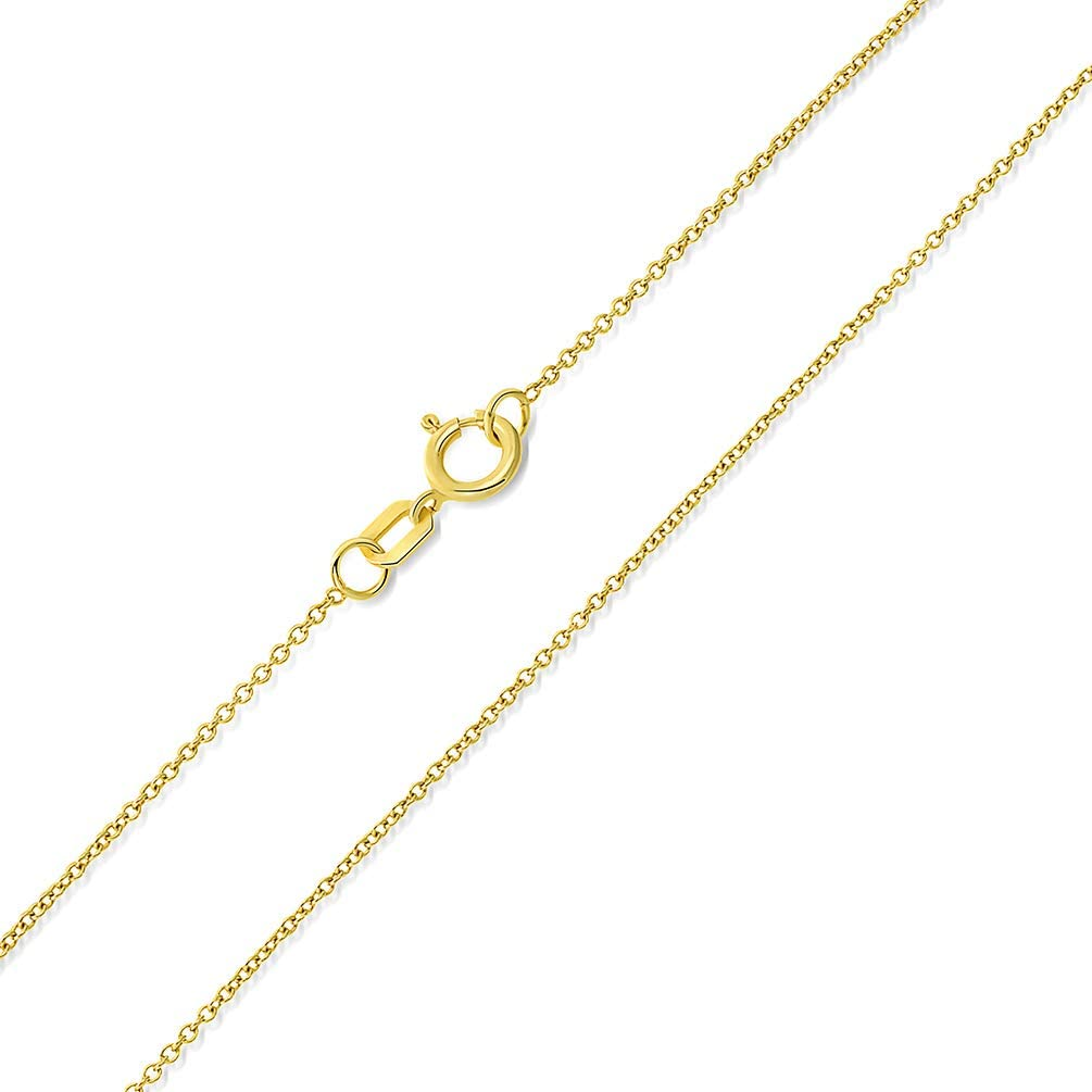 14k Yellow Gold, White Gold, or Rose Gold 0.5mm Dainty Rolo Cable Chain Chain Necklace with Spring Ring Clasp