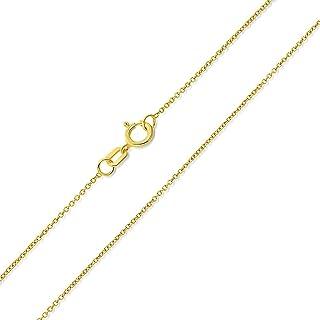 قلادة سلسلة كابلات رولو من الذهب الأصفر عيار 14 قيراط من الذهب الأبيض أو الذهب الوردي 0.5 مم مع مشبك حلقة الربيع