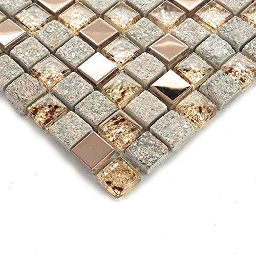 Hominter 5-Sheets Bathroom Wall and Floor Tile, Gray Stone and Glass Tile Backsplash, Rose Gold Stainless Steel Tiles, Metallic Mosaic Tile with Crystals OX022