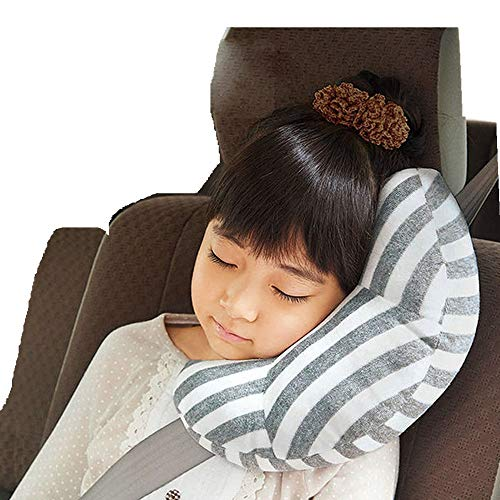 Seat Belt Pillow for Kids, AMEMEWA Car Seatbelt Covers Children Road Trip Travel Cushion Double Fasteners Head Support Sleeping Pillow Cotton Shoulder Pads Belt Strap Protector Headrest (Gray)