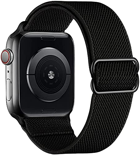 Tervoka Correa deportiva compatible con Apple Watch de 44 mm y 42 mm, ajustable, de nailon, para iWatch Series 6/SE/5/4/3/2/1, color negro