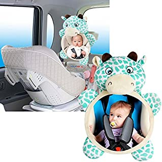 Baby Car Seat Mirrors,Rear View Baby Mirror,Rear Facing Mirror, Plush Animal Toy, Baby-in-Sight Watch Infant in Back Seat While Driving - Cow