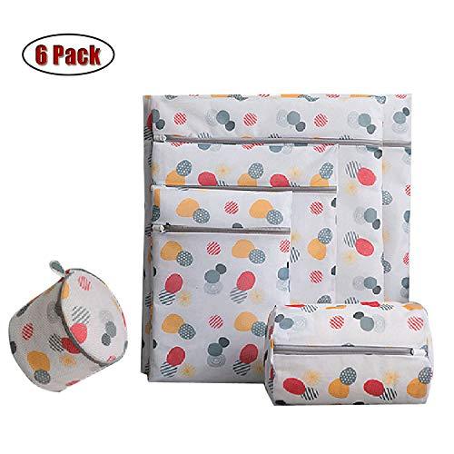 Xinyanmy 6 Stück Wäschesack Wäschebeutel aus Netzstoff Set mit Reißverschluß für Waschmaschine ideal für BH's,Unterwäsche,Socken,Babysachen,Hemd,Strickwaren