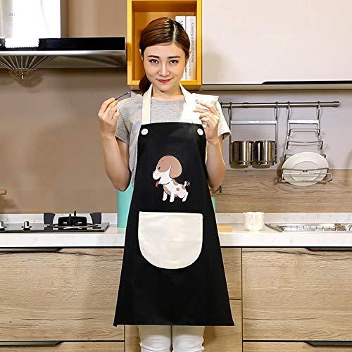 JJFU Schort Keukenschort Waterdicht Oil Pet Shop Overalls Vest zonder mouwen, volwassenen heren en dames, vest-stijl, schouder-zwarte tas, witte puppy schort