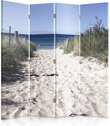 Feeby Frames. Die gedruckten auf Canvas Leinwand Wandschirme, dekorative Trennwand, Paravent einseitig, 4 teilig (145x150 cm), Strand, Meer, WEIß, BLAU