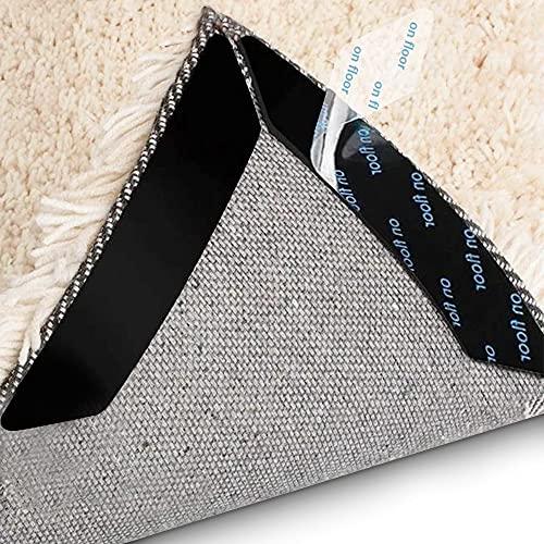 16 Pcs Rug Gripper for Hardwood Floors Non Slip Rug Grippers for Area Rugs Carpet Tiles Marbles Easy Install Removable Prevent Curling Double Kitchen Bathroom Black