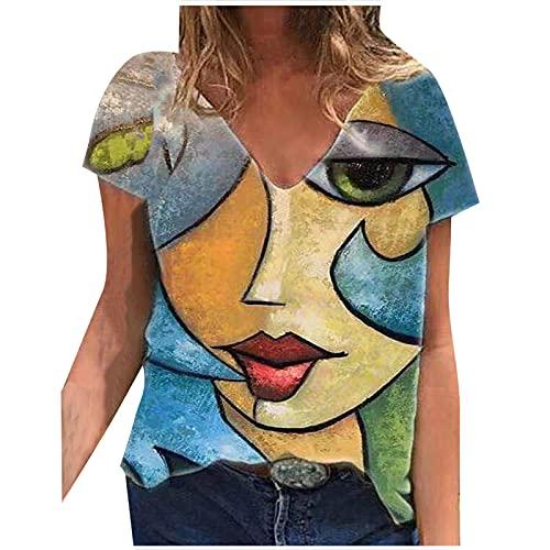 Anu Linen Women Summer Fashion Short Sleeve V-Neck Printing Casual Blouse T-Shirt Tops Cute Summer Tops Green