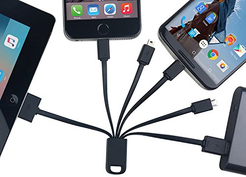 AntilaTech Universal 6-in-1 Multi-USB Charging Cable with 6 Connectors - Micro-USB & Type-C (for Android/Windows/Blackberry Devices), Mini-USB and iOS 30-Pin & 8-Pin (for iPhones/iPads)