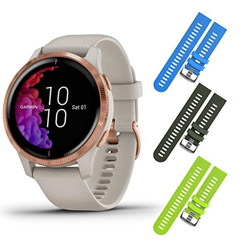 New Garmin Venu GPS Smartwatch with AMOLED Display and Included Wearable4U 3 Straps Bundle (Light Sa...