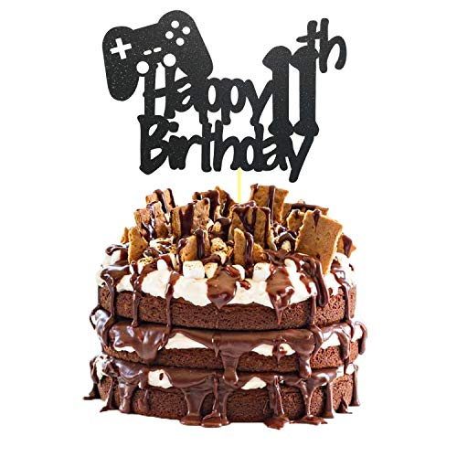 Video Game Cake Topper, Glittery Happy 11th Birthday Video Gaming Cake Toppers for 11 Year Old Boy and Kids Video Game Themed Birthday Decorations Game Fans Party Favors