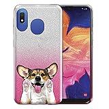 FINCIBO Case Compatible with Samsung Galaxy A10e A102U 5.83 inch, Shiny Silver Pink Gradient Glitter TPU Protector Cover Case for Galaxy A10e A20e (NOT FIT A10) - Cute Sable Pembroke Welsh Corgi Dog