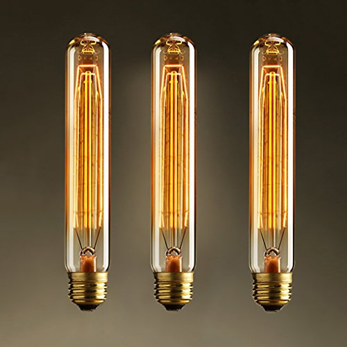 3 x Vintage Retro Edison Glühbirne Glühlampe E27 T185 40W birne Lampe tube Flötenrohr Industry Style Leuchtmittel