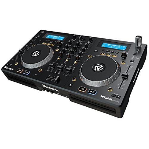 Numark Mixdeck Express - Controller per DJ a Due Canali/Lettore Media Indipendente con Riproduzione CD/MP3CD e USB, Mixer a Due Canali, Jog Wheel Multifunzione e Pacchetto Software Incluso