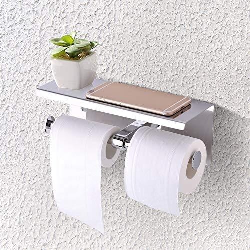 GXMZL toiletpapierhouder - wandmontage SUS 304 roestvrij staal dubbele rol toiletpapierhouder dubbel papier Tissue Roll