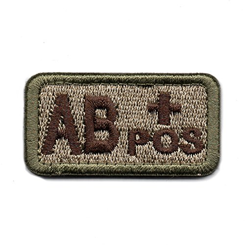 Tactical Blood Type AB+ Positive POS Hook and Loop Patch Embroidered Morale Military Badge for Outdoors (Coyote Brown AB+)