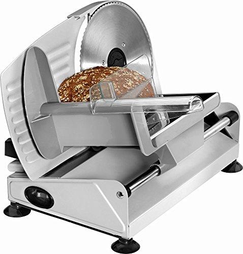 Aufschnittmaschine Edelstahl Messer Allesschneider Brotschneidemaschine Wurstschneider (Einstellbare Schneiddicke 0-15 mm, Wellenschliff, Fester Stand, Elektromesser)