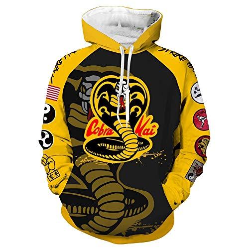 Karate Kid Hoodie Cobra Kai Kapuzenpullover Herren 3D Druck Grafisches Pullover Langarm Sweatshirt Mit Taschen S
