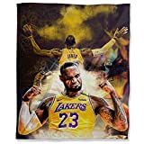 Lakers MVP King James Plush Throw Blanket 50' x 70', Sports Poster Basketball Player Lebron Soft Plush Throw Blanket for Couch Sofa Bed