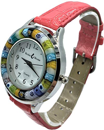 Orologio Donna Fuxia Watch in Vetro di Murano e Antica Lavorazione Murrina Millefiori Ring