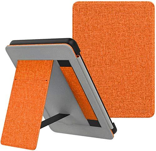 CCOO Capa de suporte para Kindle Paperwhite 10ª geração 2018/todas as versões Paperwhite - Capa protetora premium com compartimento para cartão e alça de mão, laranja