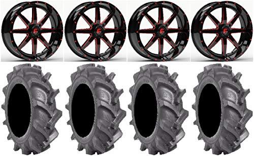 "Bundle - 9 Items: Fuel Maverick Red 20"" Wheels 38"" BKT AT 171 Tires [4x156 Bolt Pattern 12mmx1.5 Lug Kit]"