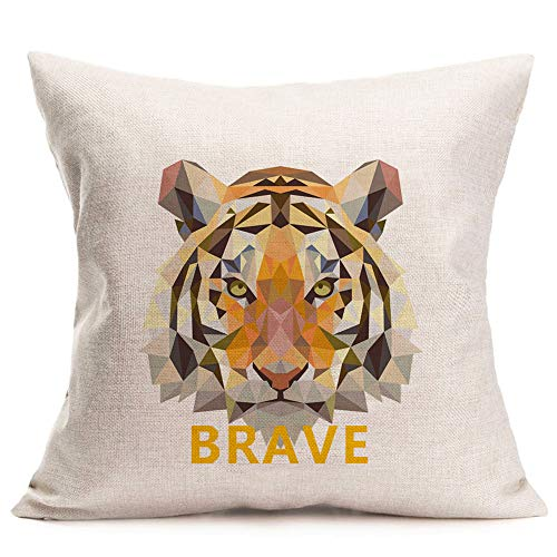 Qinqingo Throw Pillow Covers Geometry Animal Head Printed Decorative Throw Pillow Cases Cotton Linen Brave Tiger Pillowcase Cushion Cover for Home Couch Sofa 18