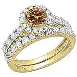 Dazzlingrock Collection 2.00 Carat (ctw) 14K Champagne & White Diamond Halo Engagement Ring Set 2 CT, Yellow Gold, Size 7