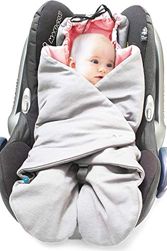 Wallaboo Einschlagdecke Universal für Babyschale, Autositz, z.B. für Maxi-Cosi,Römer, für Kinderwagen, Buggy oder Babybett, Baumwolle, Große: 96 x 90 cm, Alter: 0 - 10 Monaten, Farbe: Silber / Rosa