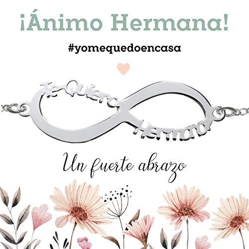 Pulsera Infinito Te Quiero Hermana de Plata de Ley 925 con mensaje - Regalos para dar ánimo #YoMeQuedoEnCasa