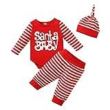 FYMNSI Neugeborene Baby Mädchen Jungen Erstes 1. Weihnachten Outfit Santa Baby Gestreift Langarm Strampler Body Hose mit Hut 3tlg Baumwolle Party Freizeit Bekleidungsset Rot 03 12-18 Monate