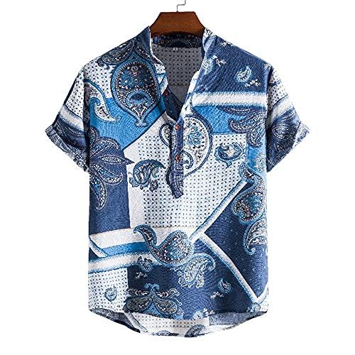 Shirt Hombres Básica Transpirable Botón Tapeta Manga Corta Hombres T-Shirt Verano A Cuadros Diseño Moda Hombres Shirt Ocio Cómoda Tendencia Suelta Hombres Shirt Playa E-05 XXL