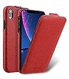 MELCKO Tasche passend für Apple iPhone XR (6,1 Zoll), Case Außenseite aus beschichtetem Leder, Schutz-Hülle klappbar, Flip-Case, Ultra-Slim Cover, Etui, Rot