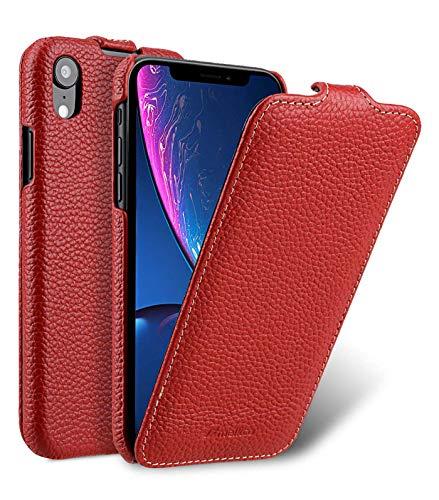 MELCKO Tasche passend für Apple iPhone XR (6,1 Zoll), Hülle Außenseite aus beschichtetem Leder, Schutz-Hülle klappbar, Flip-Hülle, Ultra-Slim Cover, Etui, Rot