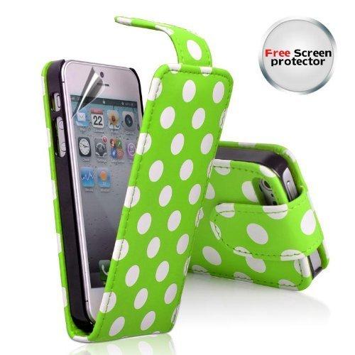 n9-Online - Flip Cover per Apple iPhone 5, con Pellicola, Motivo a Pallini, Verde e Bianco