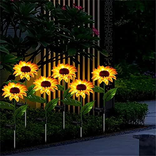 Sunflower Garden Solar Lights -2 Pack Solar Lights Outdoor Waterproof Decorative LED Solar Lights for Patio Lawn Garden Yard Pathway Outdoor Decoration (A-2 Pack)