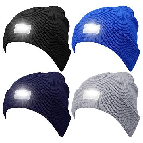 Nrpfell 4 Piezas 5 LED de Punto Linterna Gorro de Invierno de Punto CáLido Cabeza LáMpara de Luz Sombrero para Cazar, Acampar, Asar una la Parrilla, Caminar