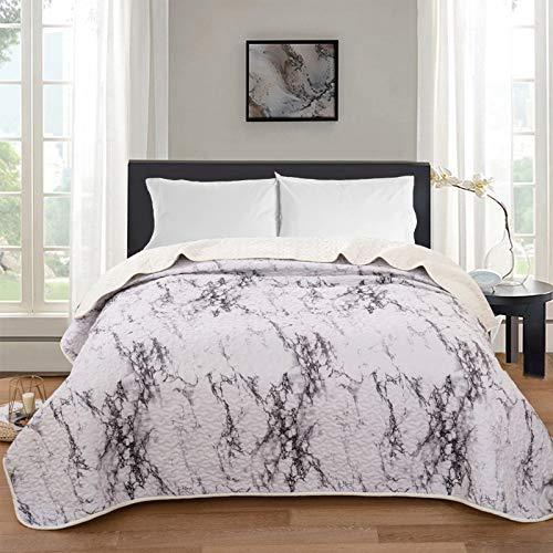 ENCOFT Tagesdecke Bettüberwurf Steppdecke Patchwork Bettdecke Einzelbett Polyester (150 x 200 cm, Grau)