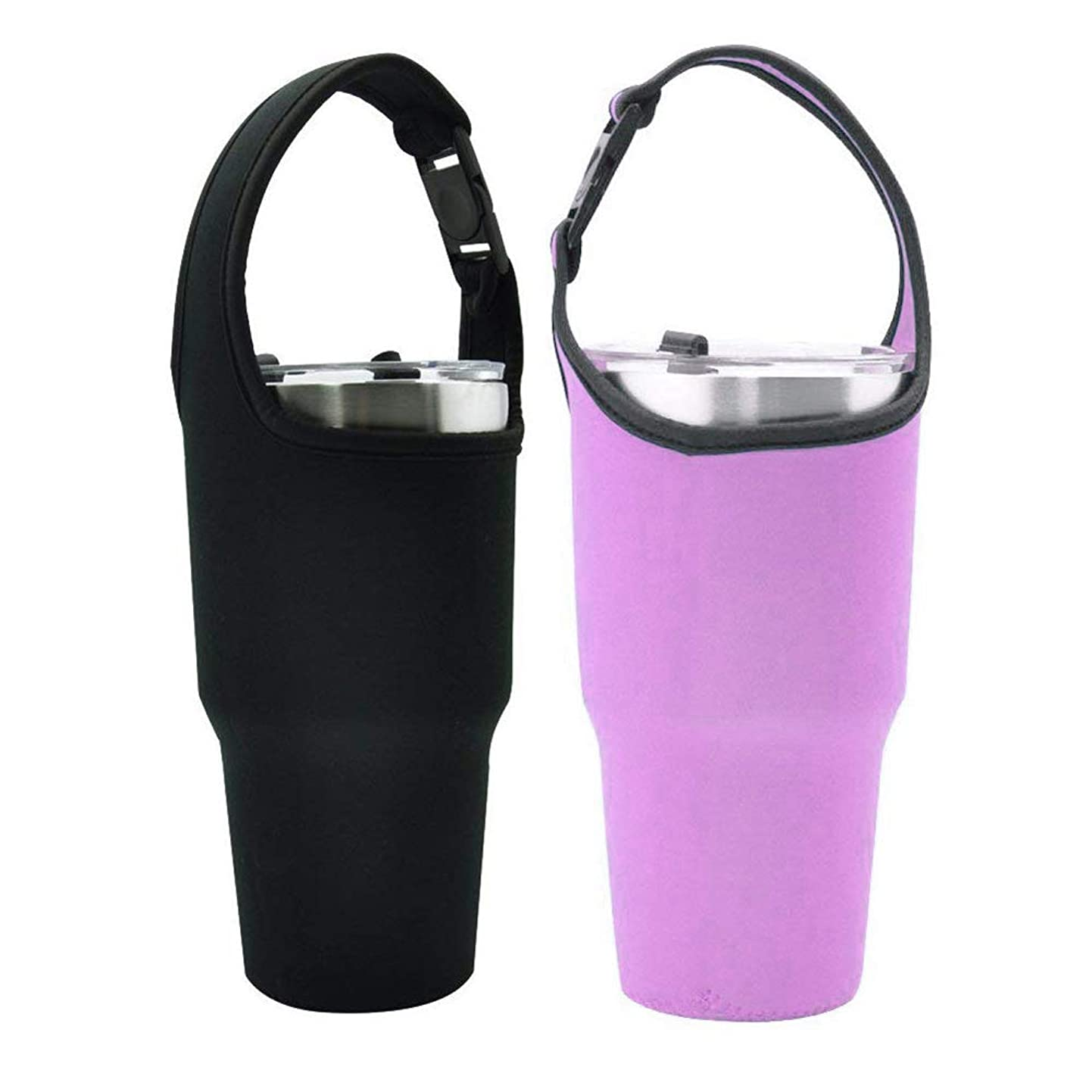 Tumbler Carrier Holder Pouch For 30oz Stainless Steel Vacuum Travel Insulated Coffee Mug, Yoelike 2 Pack Tumbler Carrier Handle Bag Neoprene Black Sleeve with Buckle Carrying Handle(Black & Purple) wchntqrpqdj9