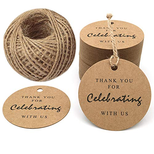 Thank You for Celebrating with Us, Paper Gift Tag, 100 PCS Kraft Tags with 100 Feet String for Wedding, Baby Shower, Party Favor (Brown)
