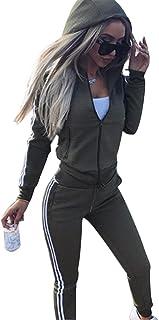 Women's Hooded Tracksuit Stripe Long Sleeve Zipper Hooded Sweatshirt Long Sport Pants 2 Piece Outfit