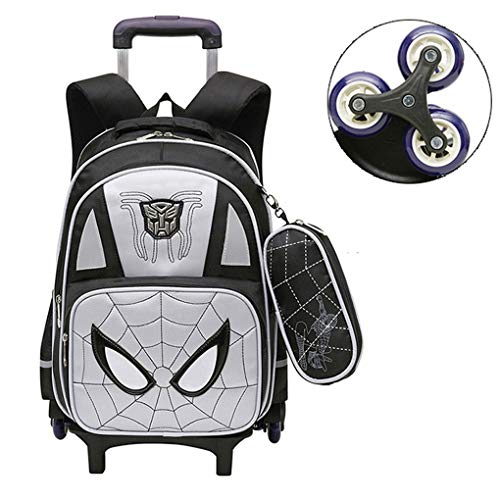 LINLIN Spiderman Trolley Bags with Wheels Carry on Luggage Suitcases Holiday Suitcase for Children Toddler, Gifts for Boys Girls Age 3,Grey