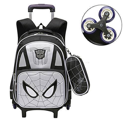 XNheadPS Spiderman Sacchetti del Carrello con Ruote Bagaglio a valigie per Le Vacanze Valigia per i Bambini del Bambino, Regali per i Ragazzi Femmine Bambino di età 3,Grey