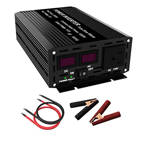 SHIERLENG 2000W Pure Sine Wave Power Inverter DC 12V to 110V AC 1000W Continuous Car Converter with Dual LCD Display for Solar Panel Kit, Home, RV, Truck, Boat, Fan, TV