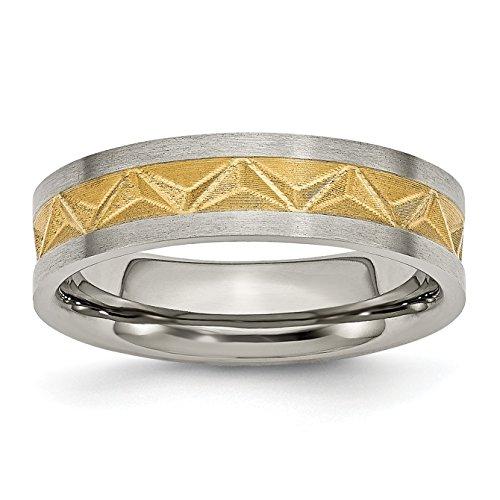 Alianza de boda chapada en titanio y amarillo, 6 mm