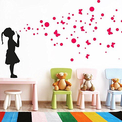 Grandora W5427 Wandtattoo Wandaufkleber Mädchen mit Luftblasen und Schmetterlinge Kinderzimmer - Farbe Mädchen: gold / Farbe Blasen: dunkelblau