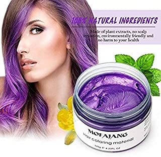 MOFAJANG Unisex Hair Color Dye Wax Styling Cream Mud, Natural Hairstyle Pomade, Temporary Hair Dye Wax for Party, Cosplay & Halloween, 4.23 oz (Purple)